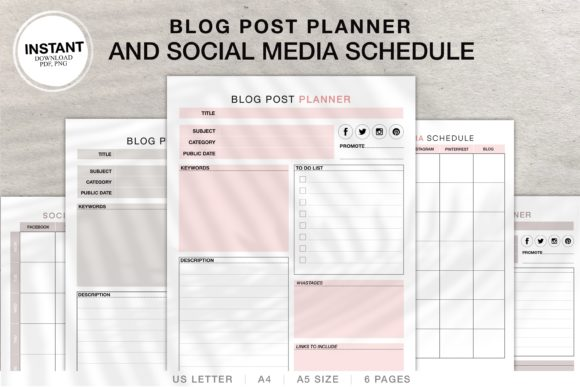 Print on Demand: Social Media and Blog Post  Planner Graphic KDP Interiors By Twin Flame Journey into the unknown