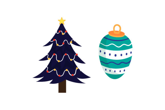 Tree and Ornaments Christmas Vector Graphic Illustrations By wiwasatastudio
