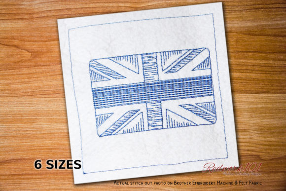 United Kingdom Flag Independence Day Embroidery Design By Redwork101