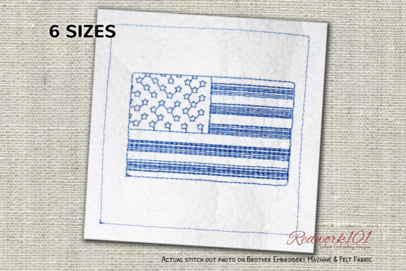 United States of America Redwork Independence Day Embroidery Design By Redwork101
