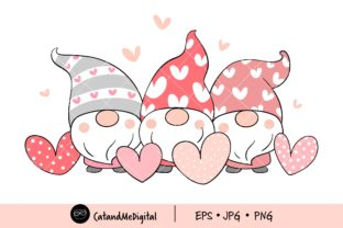 Valentine's Gnomes Clipart Graphic Illustrations By CatAndMe