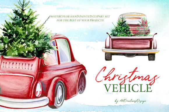 Watercolor Christmas Vehicle Design Set Graphic Illustrations By artcreationsdesign