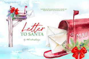 Watercolor Letter to Santa Design Set Graphic Illustrations By artcreationsdesign