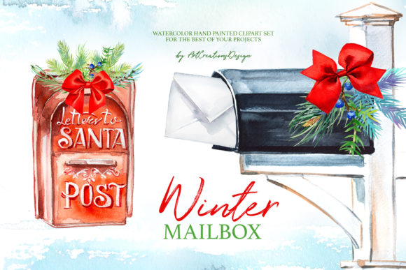 Watercolor Winter Mailbox Design Set Graphic Illustrations By artcreationsdesign