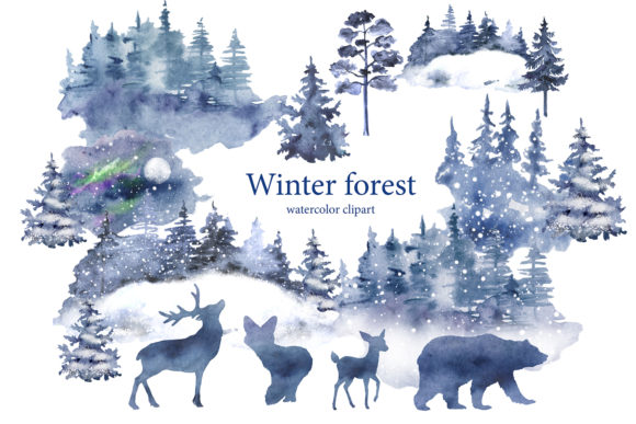 Winter Forest Clipart, Landscape, Pine Graphic Illustrations By EvArtPrint