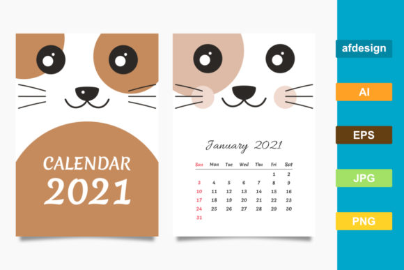 2021 Calendar with a Cat Theme Graphic Print Templates By semu creative