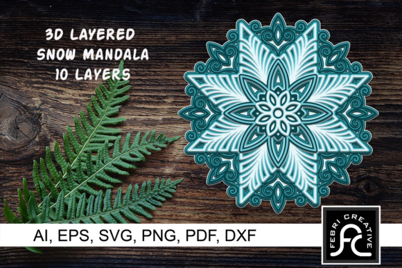 Print on Demand: 3D Layered Snow Mandala - Vol 3 Graphic Crafts By Febri Creative