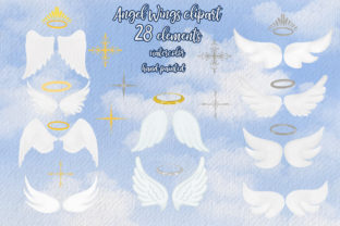 Print on Demand: Angel Wings Clipart Halo Clipart Haven Graphic Illustrations By LeCoqDesign 2
