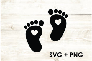 Print on Demand: Baby Feet Heart Foot Cute Gráfico Plantillas para Impresión Por Too Sweet Inc