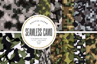 Print on Demand: Camo Seamless Patterns Graphic Backgrounds By Sabina Leja