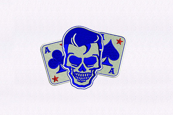 Cards and Elvis Skull Design Games & Leisure Embroidery Design By DigitEMB