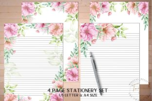 Print on Demand: Cherry Blossom Printable Stationery Set Graphic KDP Interiors By The Crafty Shop