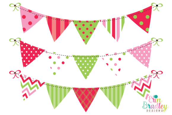 Print on Demand: Christmas Bunting Clipart Graphic Crafts By Erin Bradley Designs