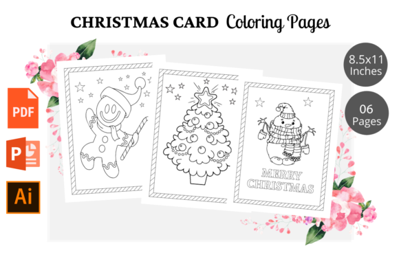 Print on Demand: Christmas Card Coloring Pages KDP Graphic KDP Interiors By KDPWarrior
