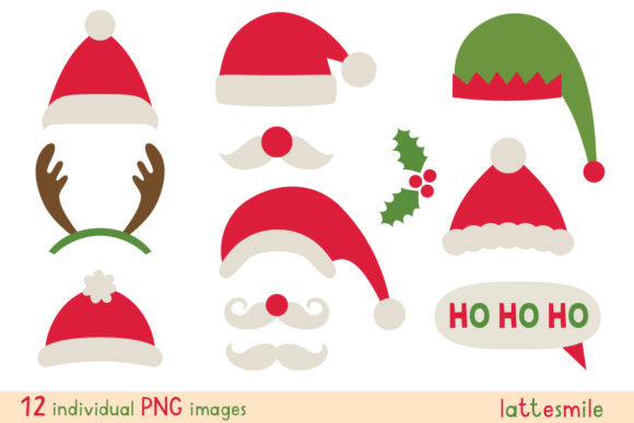 Christmas Party Props (Santa, Deer, Elf) Graphic Illustrations By lattesmile