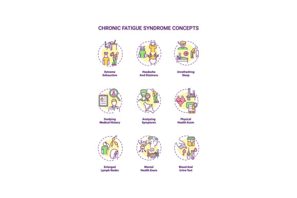 Print on Demand: Chronic Fatigue Syndrome Concept Icons Graphic Icons By bsd studio