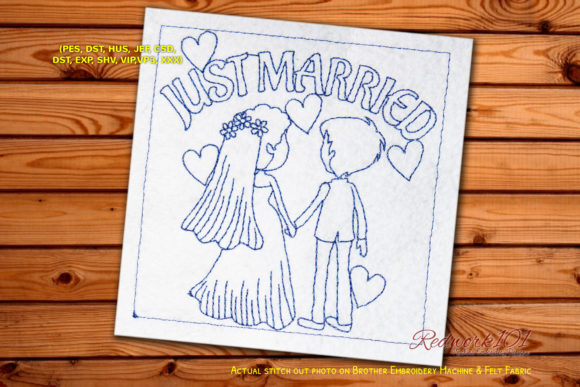 Couple Just Got Married Redwork Wedding Designs Embroidery Design By Redwork101