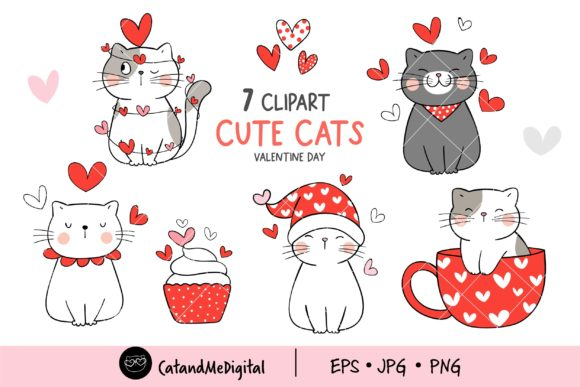 Cute Cat Valentine Clipart Graphic Illustrations By CatAndMe