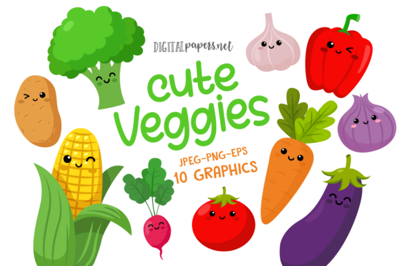 Print on Demand: Cute Veggies Clipart Set Graphic Illustrations By DigitalPapers