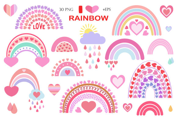 Print on Demand: Cute Vector Rainbow Collection Graphic Illustrations By TanyaPrintDesign