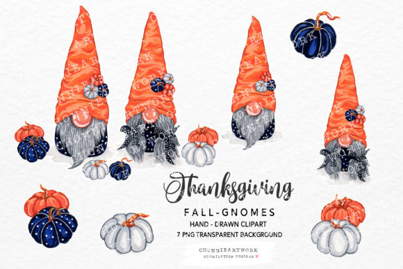 Fall Gnomes Clipart, 7 PNG Clipart Graphic Crafts By Chonnieartwork