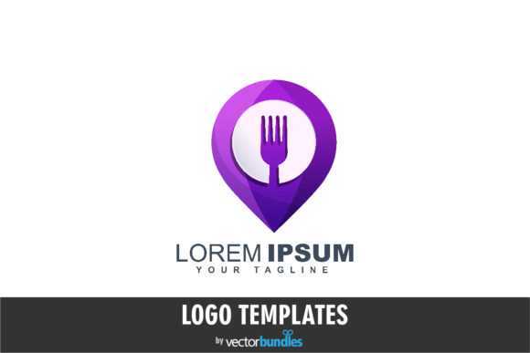 Print on Demand: Food Pin Logo Design Template Graphic Logos By vectorbundles