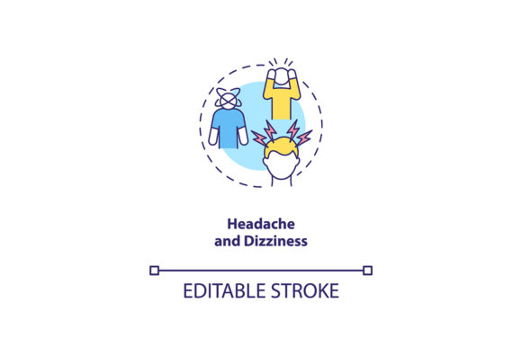 Print on Demand: Headache and Dizziness Concept Icon Graphic Icons By bsd studio
