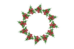 Print on Demand: Holly Christmas Wreath Christmas Embroidery Design By EmbArt