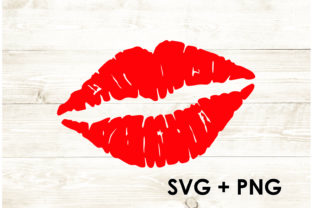 Print on Demand: Kissing Lips Red Lipstick Cricut Graphic Print Templates By Too Sweet Inc
