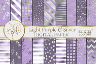 Light Purple and Silver Digital Paper Graphic Backgrounds By paperart.bymc