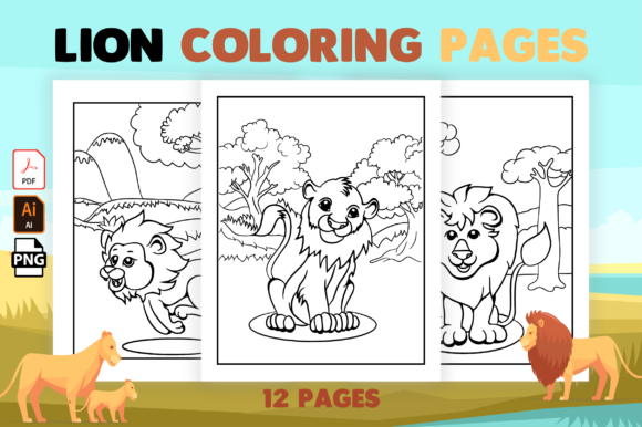 Print on Demand: Lion Coloring Pages for Kids Graphic Coloring Pages & Books Kids By MK DESIGN