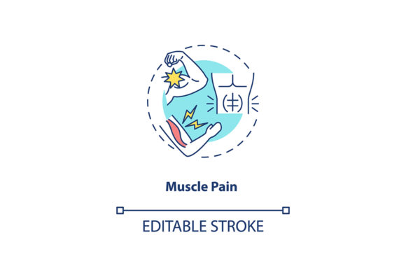 Print on Demand: Muscle Pain Concept Icon Graphic Icons By bsd studio