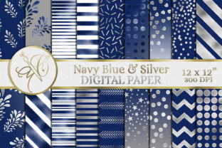 Navy Blue and Silver Digital Paper Graphic Backgrounds By paperart.bymc