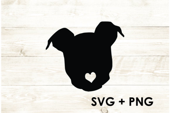 Print on Demand: Pitbull Silhouette Shape Outline Heart Graphic Print Templates By Too Sweet Inc