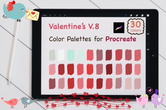 Procreate Color Palettes-Valentines V.8 Graphic Add-ons By jennythip