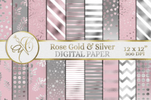 Rose Gold and Silver Digital Paper Graphic Backgrounds By paperart.bymc
