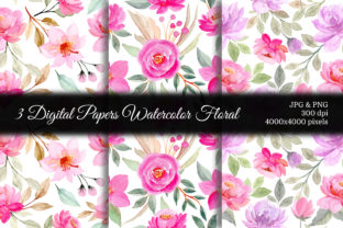 Print on Demand: Seamless Pattern Floral Watercolor 63 Graphic Patterns By asrulaqroni