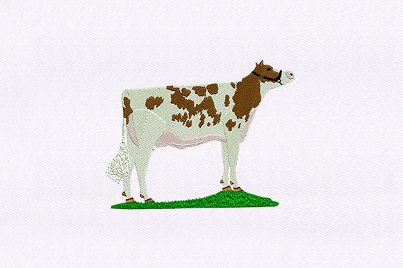 Spotted Brown Cow Design Farm Animals Embroidery Design By DigitEMB
