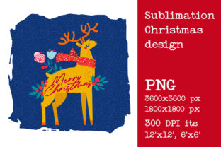 Print on Demand: Sublimation Christmas Deer Design. Graphic Print Templates By KundolaArt