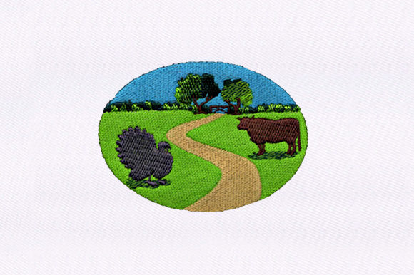 Turkey and Farm Design Farm & Country Embroidery Design By DigitEMB