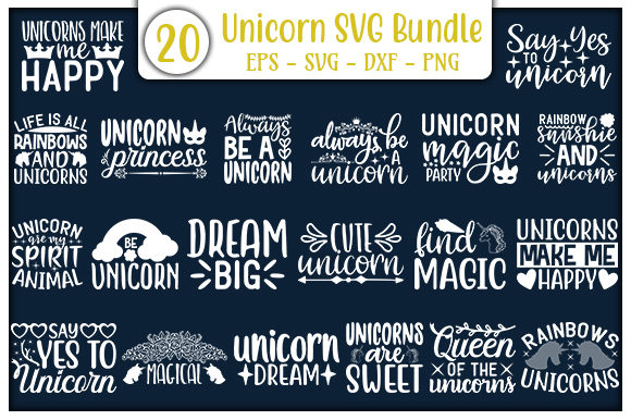 Print on Demand: Unicorn Design Bundle Graphic Print Templates By GraphicsBooth