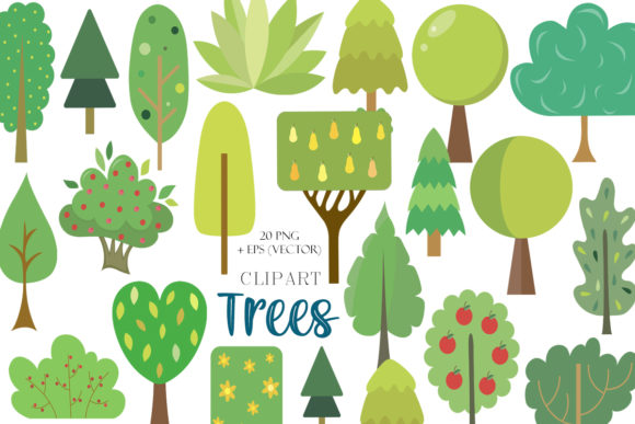 Print on Demand: Vector Collection of Tree Clipart Graphic Illustrations By TanyaPrintDesign