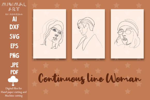 Print on Demand: Wall Art / Continuous Line, Woman Graphic Print Templates By Momixzaa