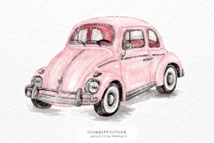 Print on Demand: Watercolor Pink Vintage Car Side Graphic Crafts By Chonnieartwork