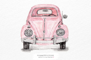 Print on Demand: Watercolor Pink Vintage Car Front Graphic Crafts By Chonnieartwork
