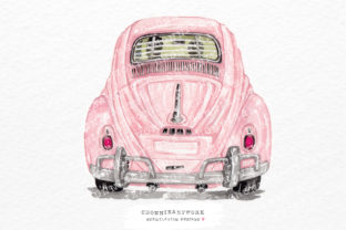 Print on Demand: Watercolor Pink Vintage Car Back Graphic Crafts By Chonnieartwork