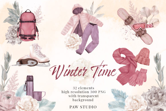 Print on Demand: Winter Clothes Outdoor Hobby Clipart Graphic Illustrations By PawStudio