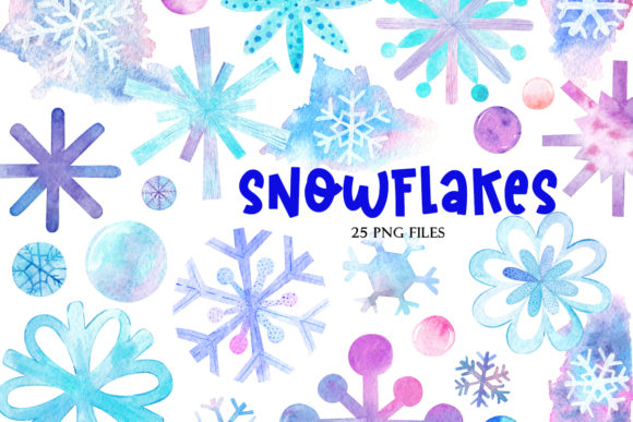 Print on Demand: Сollection of Watercolor Snowflakes Graphic Illustrations By TanyaPrintDesign