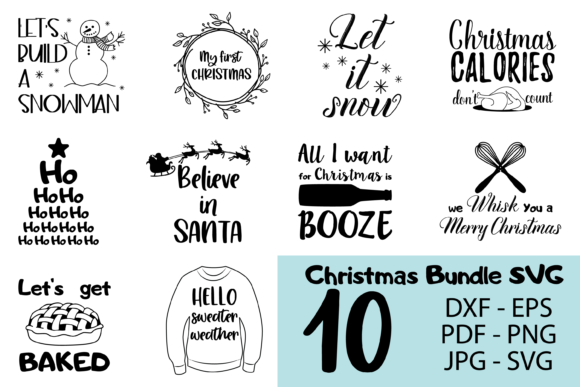 10 Christmas SVG Bundle Graphic Print Templates By CuteShopClipArt