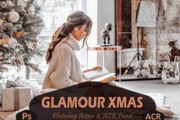 10 Glamour Xmas Photoshop Actions Graphic